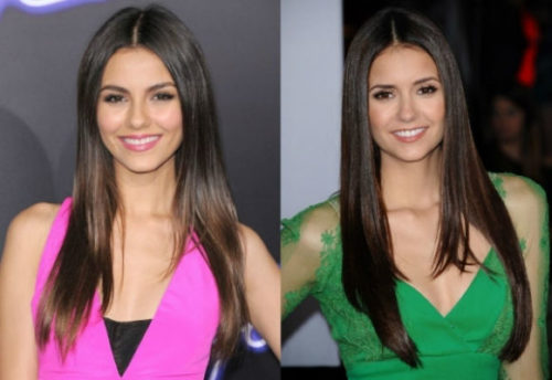 Victoria Justice and Nina Dobrev celebrities who are incredibly similar