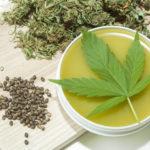 cannabis salve with leaf and seeds