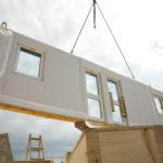 prefab home being built