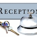 reception sign with keys and bell