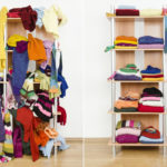 downsized clothes shelf before and after