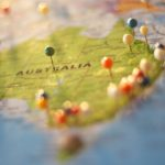 australia map with pins
