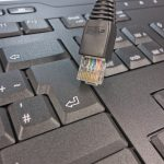 computer cable and keyboard