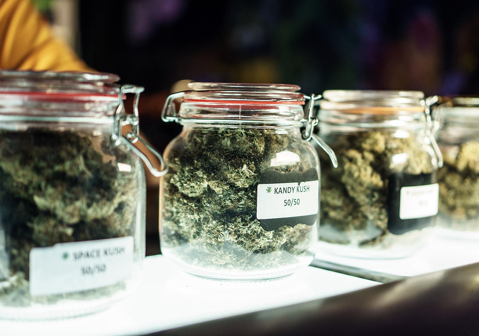 Jars Of Cannabis Flowers